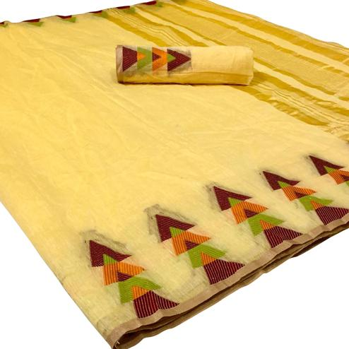 Radiant Yellow Colored Festive Wear Woven Linen Saree