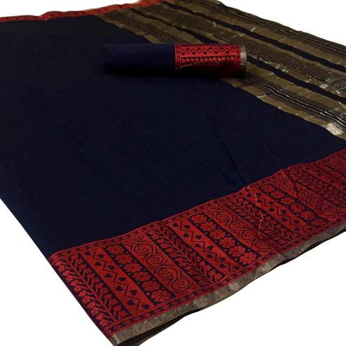 Pleasant Navy Blue Colored Festive Wear Woven Linen Saree