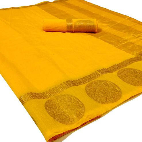 Opulent Yellow Colored Festive Wear Woven Linen Saree