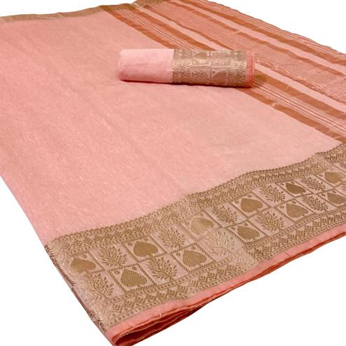 Energetic Light Pink Colored Festive Wear Woven Linen Saree