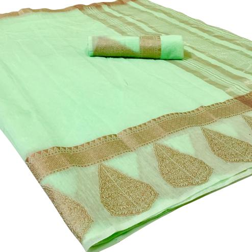 Glowing Light Green Colored Festive Wear Woven Linen Saree