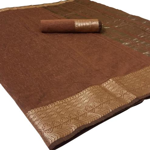 Mesmeric Brown Colored Festive Wear Woven Linen Saree