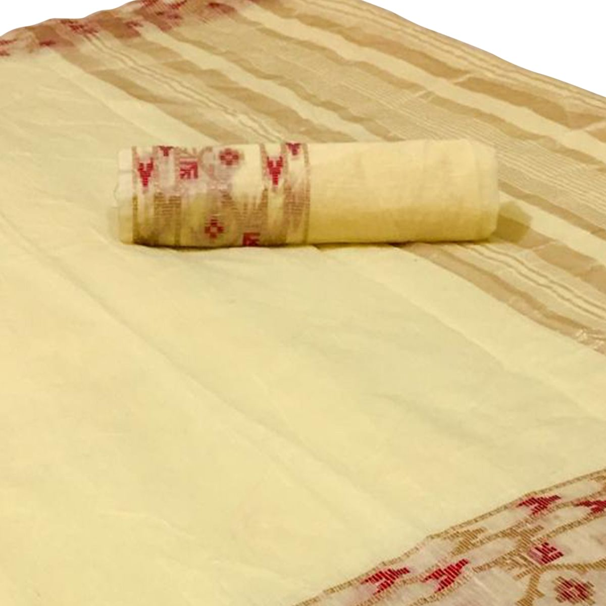 Gorgeous Yellow Colored Festive Wear Woven Linen Saree