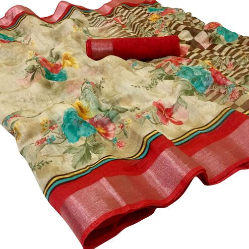 Mesmerising Beige-Red Colored Casual Wear Floral Printed Linen Saree