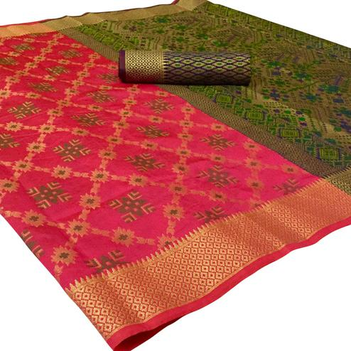 Beautiful Pink Colored Festive Wear Woven Patola Silk Saree