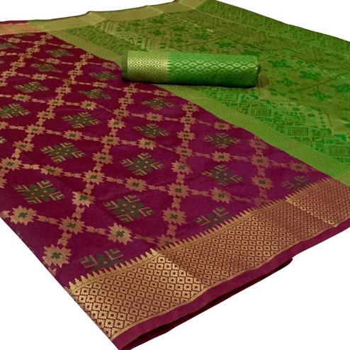 Graceful Wine Colored Festive Wear Woven Patola Silk Saree