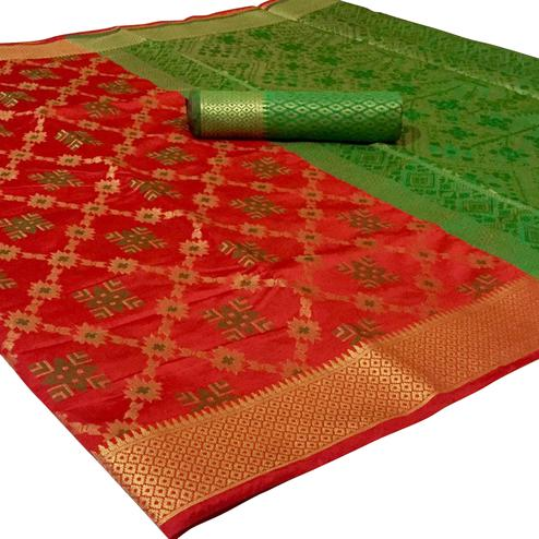 Jazzy Red Colored Festive Wear Woven Patola Silk Saree