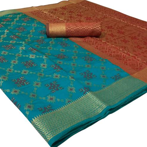 Delightful Blue Colored Festive Wear Woven Patola Silk Saree