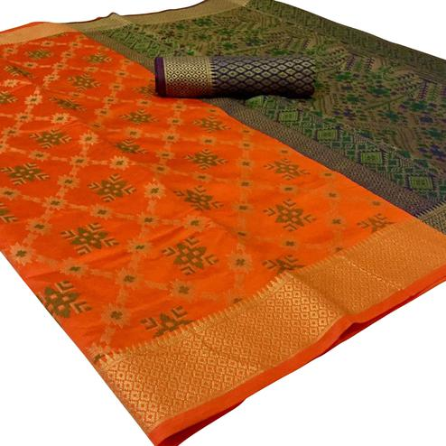 Engrossing Orange Colored Festive Wear Woven Patola Silk Saree