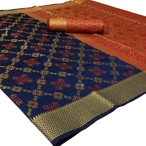 Captivating Navy Blue Colored Festive Wear Woven Patola Silk Saree