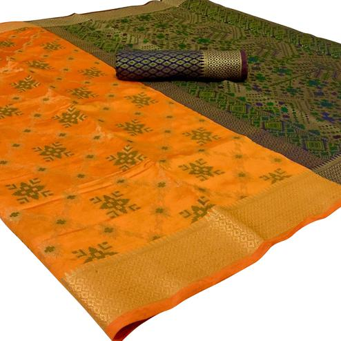 Fantastic Mustard Yellow Colored Festive Wear Woven Patola Silk Saree