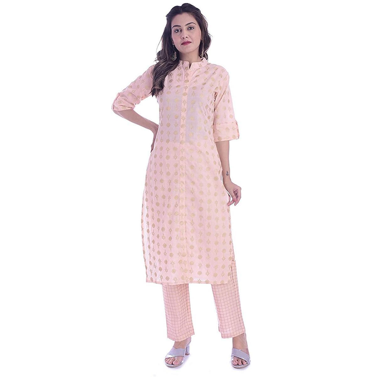 TMN Trendy Women Peach Colored Cotton Kurta And Palazzo Set