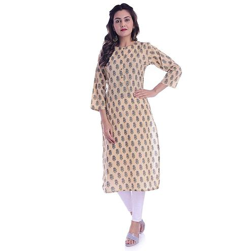 TMN Trendy Women Cream Colored Cotton Kurta