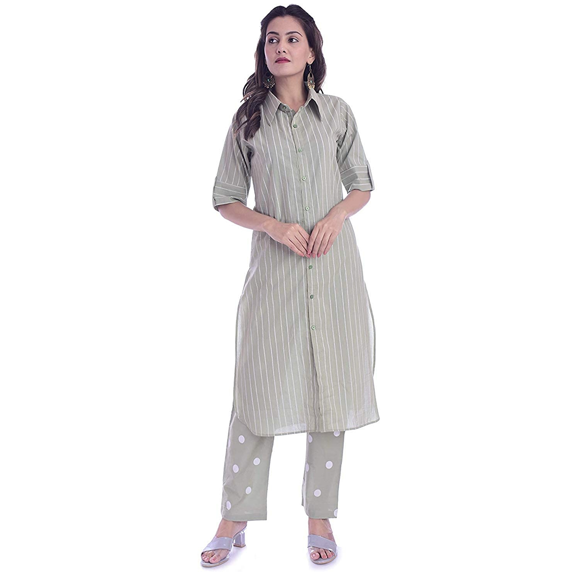 TMN Trendy Women Green Colored Cotton Kurta And Palazzo Set