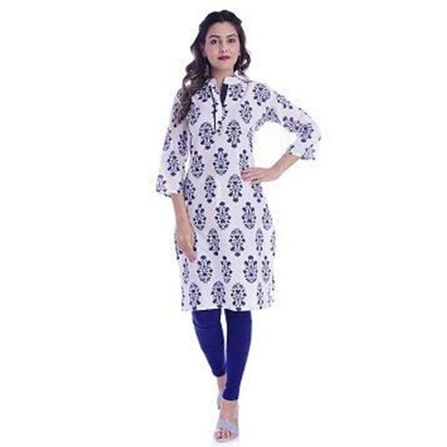 TMN Trendy Women White And Blue Colored Cotton Kurta