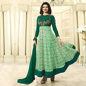 Green Georgette Floor Length Anarkali Suit
