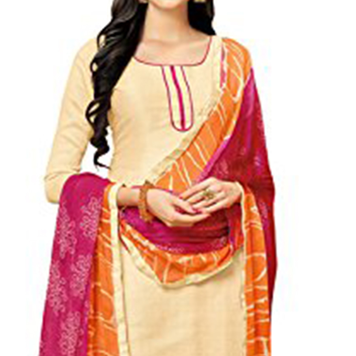 Cream - Pink Casual Wear Salwar Suit