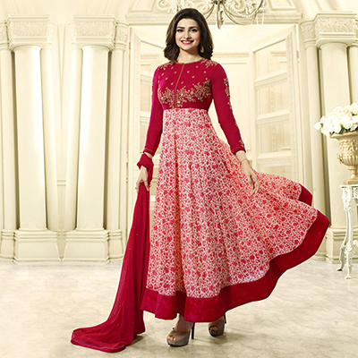 Pink Embroidered Work Georgette Anarkali Suit