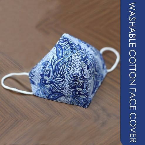 Saree Mall - Blue Color Printed Washable Cotton Face Cover