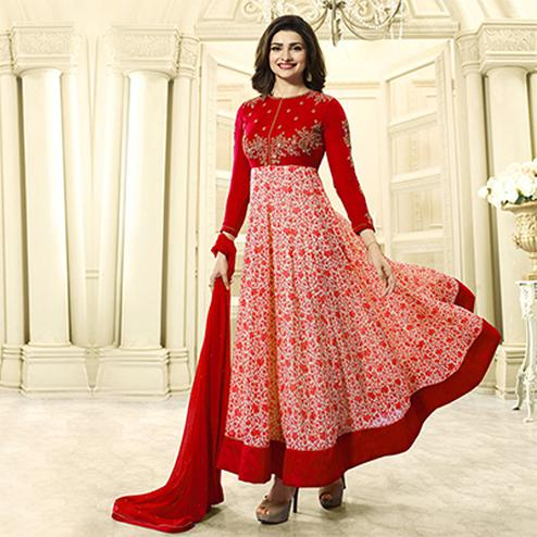Red Festive Wear Georgette Anarkali Suit