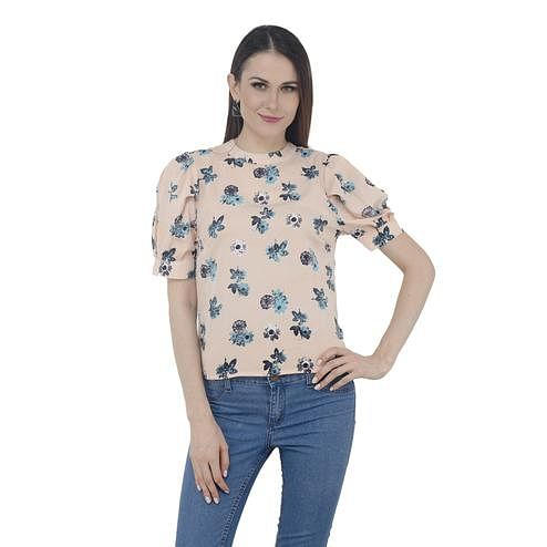 Mozoi - Peach Colored Casual Wear Floral Printed Cotton Top
