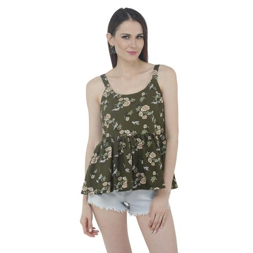 Mozoi - Olive Green Colored Casual Wear Floral Printed Polyester Top