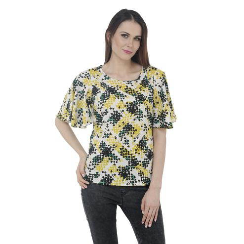 Mozoi - Yellow Colored Casual Wear Printed Polyester Top