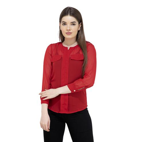 Mozoi - Red Colored Casual Wear Georgette Top