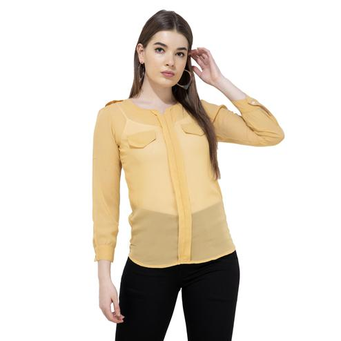 Mozoi - Yellow Colored Casual Wear Georgette Top