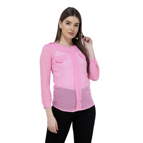 Mozoi - Pink Colored Casual Wear Georgette Top