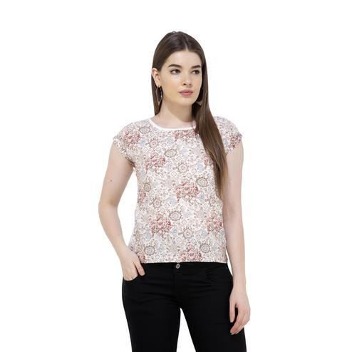 Mozoi - White Colored Casual Wear Printed Knitted Top