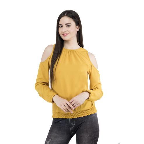 Mozoi - Mustard Yellow Colored Casual Wear Cold Shoulder Polyester Top