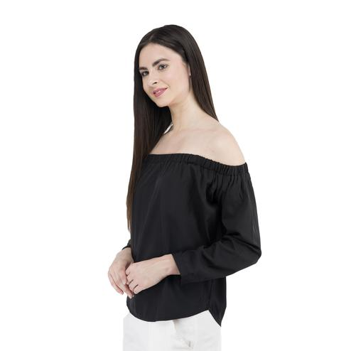 Mozoi - Black Colored Casual Wear Off Shoulder Polyester Top