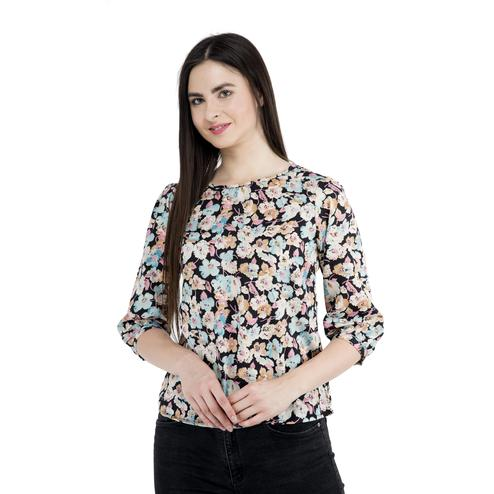 Mozoi - Black Colored Casual Wear Floral Printed Polyester Top