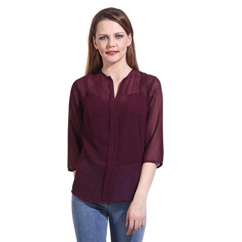 Mozoi - Maroon Colored Casual Wear Georgette Top