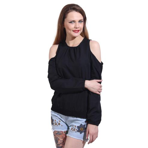 Mozoi - Black Colored Casual Wear Cold Shoulder Polyester Top