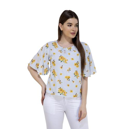 Mozoi - Sky Blue Colored Casual Wear Floral Printed Rayon Top