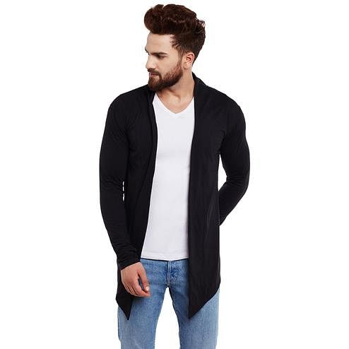 Chill Winston - Black Colored Cotton Shrug For Men