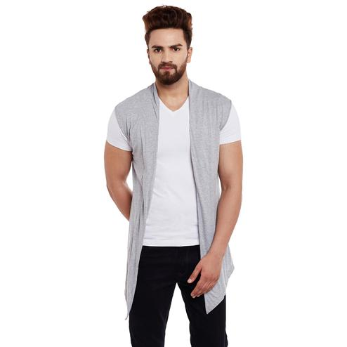 Chill Winston - Grey Colored Cotton Sleeveless Shrug For Men