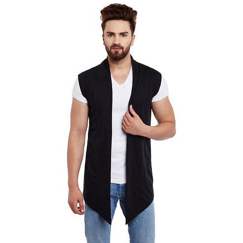 Chill Winston - Black Colored Cotton Sleeveless Shrug For Men