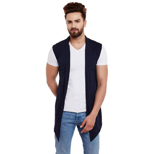 Chill Winston - Navy Blue Colored Cotton Sleeveless Shrug For Men