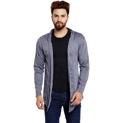 Chill Winston - Navy Blue Grindle Colored Cotton Shrug For Men