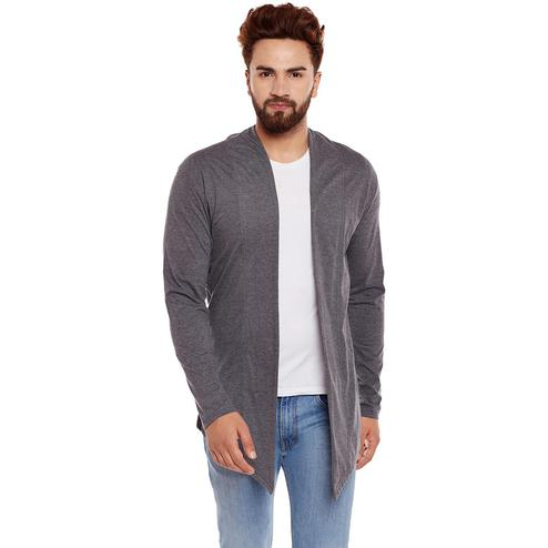 Chill Winston - Charcoal Melange Colored Cotton Shrug For Men