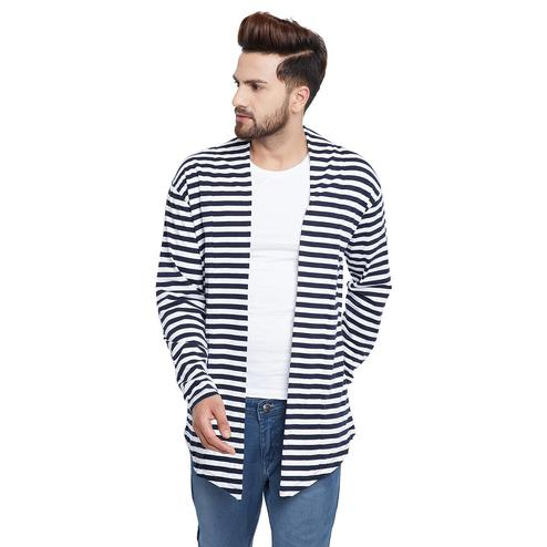Chill Winston - White-Navy Blue Colored Stripe Cotton Shrug For Men