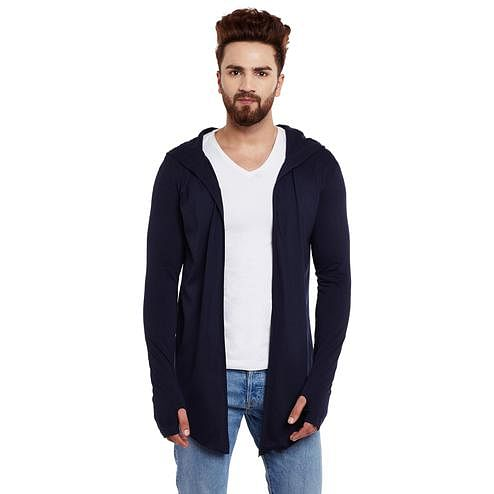 Chill Winston - Navy Blue Colored Hooded Cardigan With Thumb Insert For Men