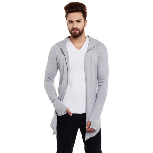 Chill Winston - Grey Colored Hooded Cardigan With Thumb Insert For Men