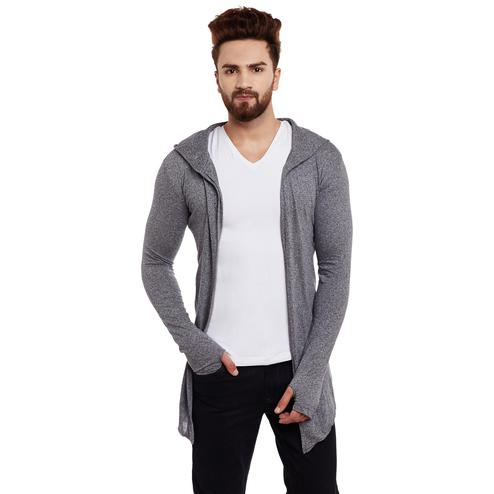 Chill Winston - Charcoal Colored Hooded Cardigan With Thumb Insert For Men