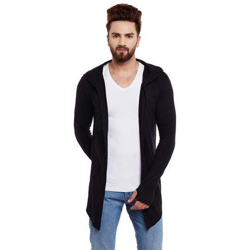 Chill Winston - Black Colored Hooded Cardigan With Thumb Insert For Men