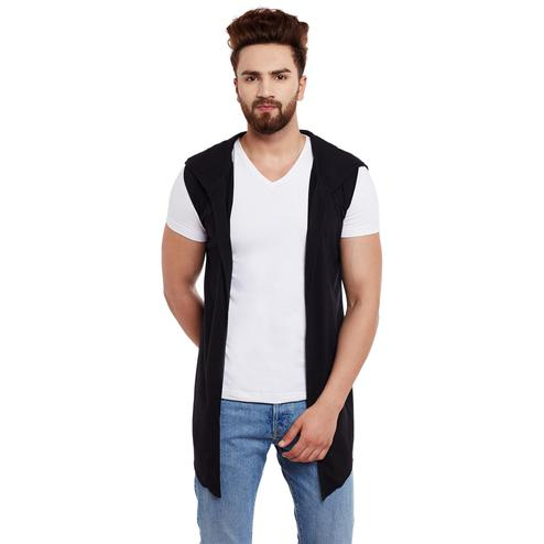 Chill Winston - Black Colored Sleeveless Hooded Cardigan For Men