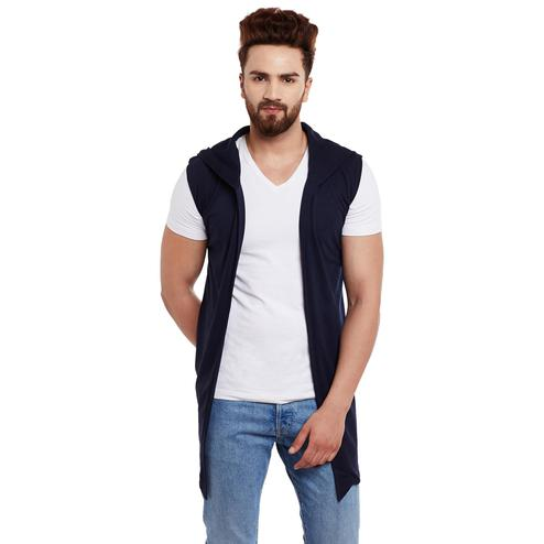 Chill Winston - Navy Blue Colored Sleeveless Hooded Cardigan For Men